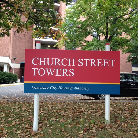 Church Street Towers exterior sign