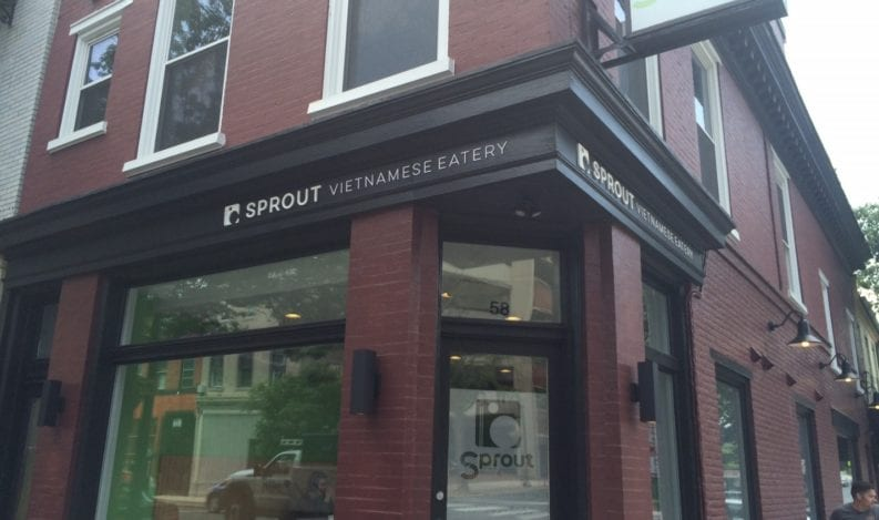Interior door sign at Sprout Eatery created by The H&H Group