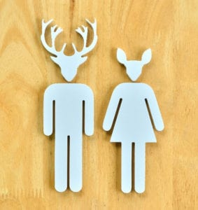 bathroom deer sign