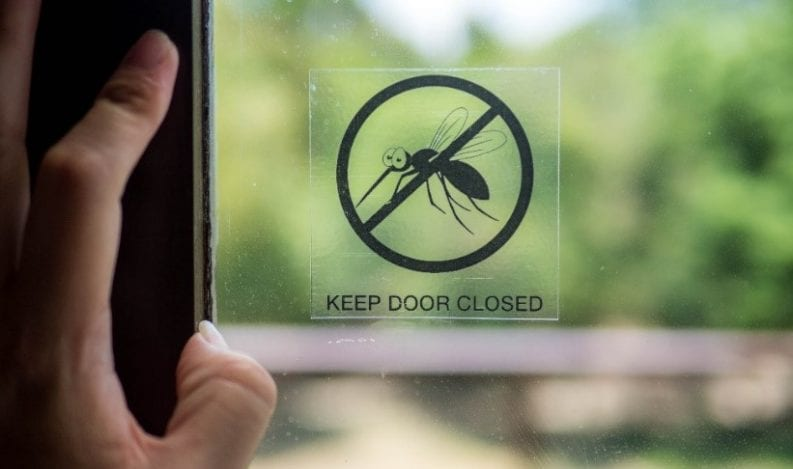 Cartoon mosquito on funny Keep Door Closed interior door sign
